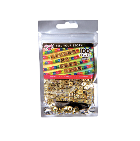 Tell your Story Alphabet bead Bag-Gold Cubes