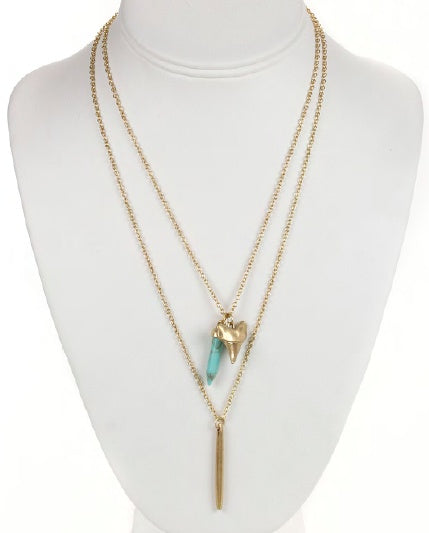 Gold Double Layered Turquoise Crystal Necklace