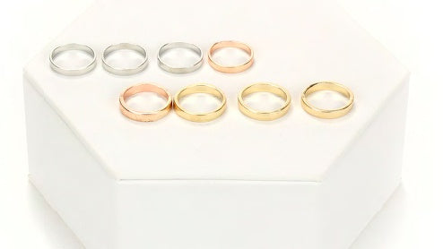 Silver, Gold, Rose Gold Plain Band 8 Ring Set