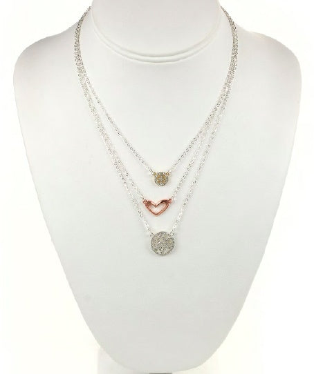 Two-Toned Triple Layered Peace/Love Necklace
