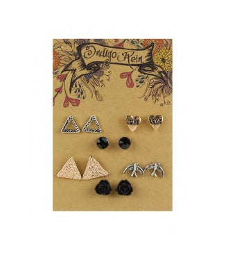 Silver/Gold Love Heart & Triangle Earring Set