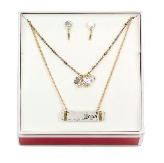 Two-tone Double Layered Hope Necklace/Earring Set