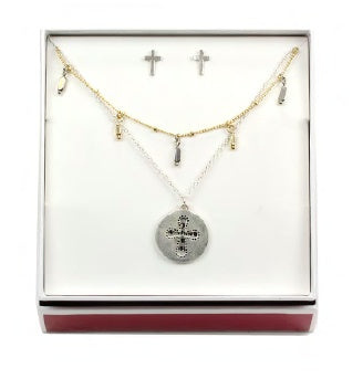 Two-tone Double Layered Cross Necklace/Earring Set
