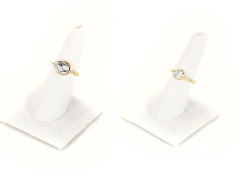 Gold w/ White Marble Round and Oval Stone 2 Ring Set