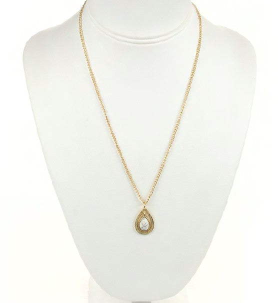 Gold Necklace w/ White Marble Pendant