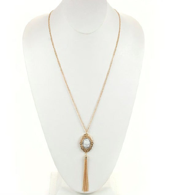 Rose Gold Necklace w/ White Marble Pendant & Tassel