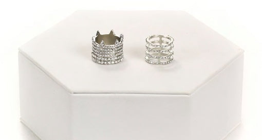 Silver Stacked/caged & CZ Ring Set