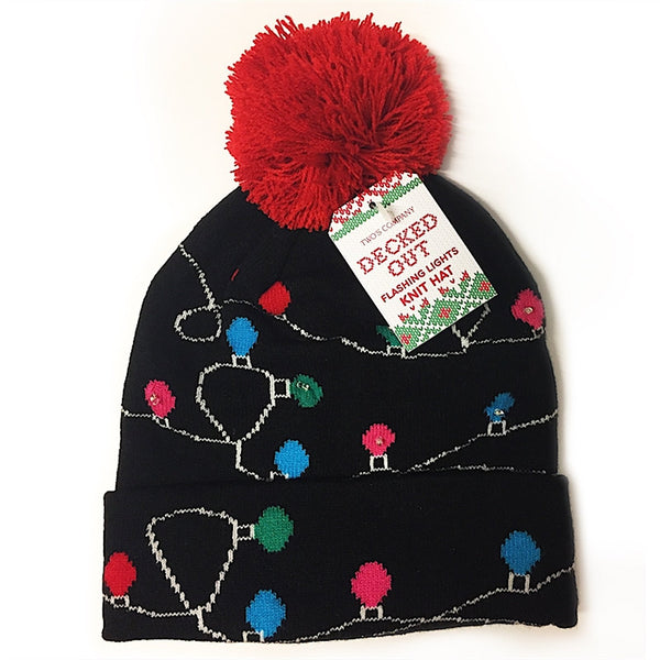 Decked Out Flashing Lights Knit Hat