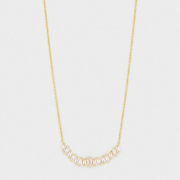 Amara Necklace,White CZ- Gold