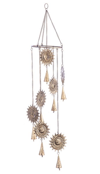 Antique Gold Spiral Sun Wind Chimes