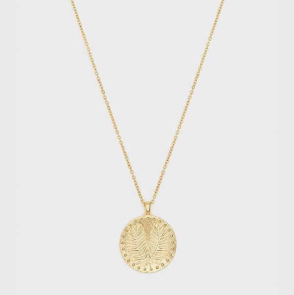Palm Coin Necklace, Gold