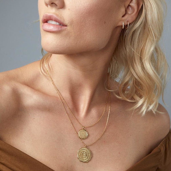 Mosaic Coin Necklace, Gold