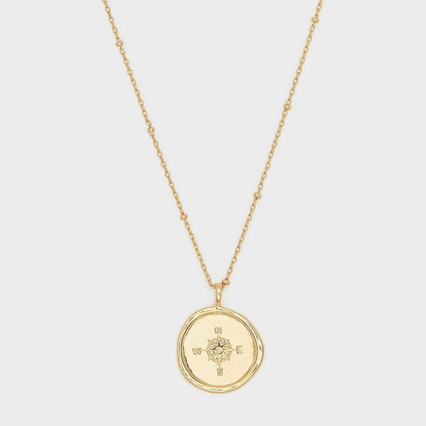 Compass Coin Necklace, Gold