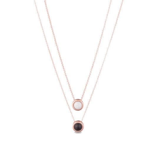 Double Fine Chain Necklace Rose Gold