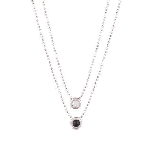 Double Ball Chain Necklace Silver