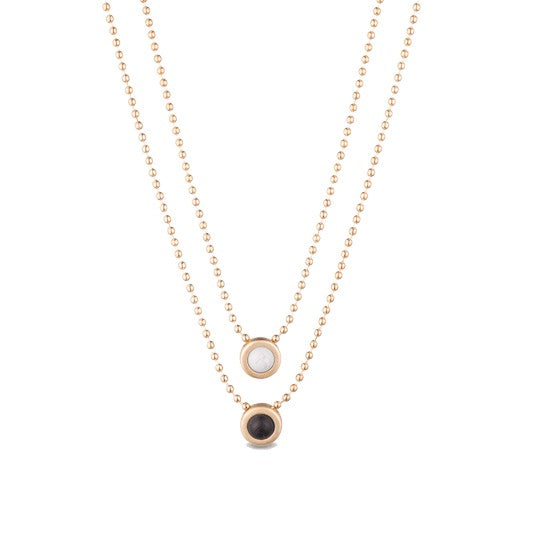 Double Ball Chain Necklace - Gold