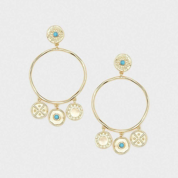 Cruz Coin Drop Hoops, Gold with Blue Turquoise