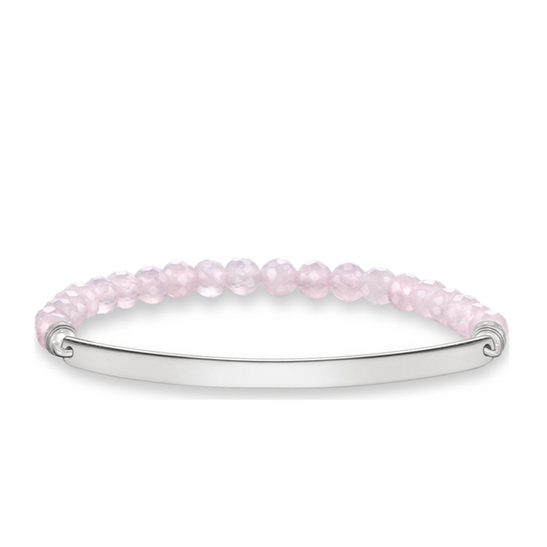 Pink Beaded Love Bridge Stretch Bracelet