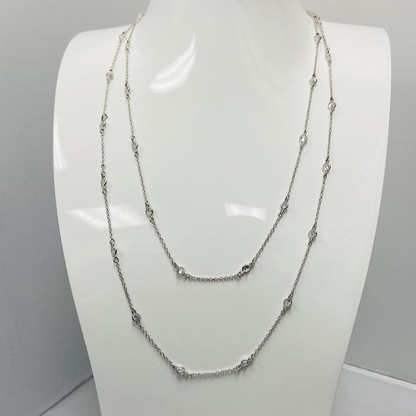 Silver Extra Long Necklace w/ Clear Stones