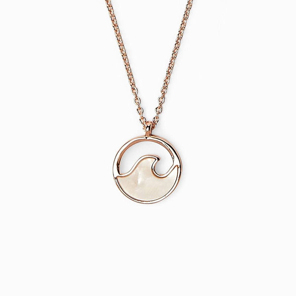 Stone Wave Necklace in Rose Gold