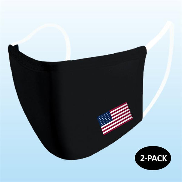 Primeware - Adult Reusable Face Masks, 2 Pack - American Flag (Select Color)