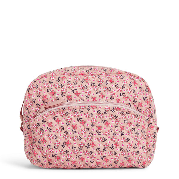 Large Cosmetic Bag in Sweethearts and Flowers