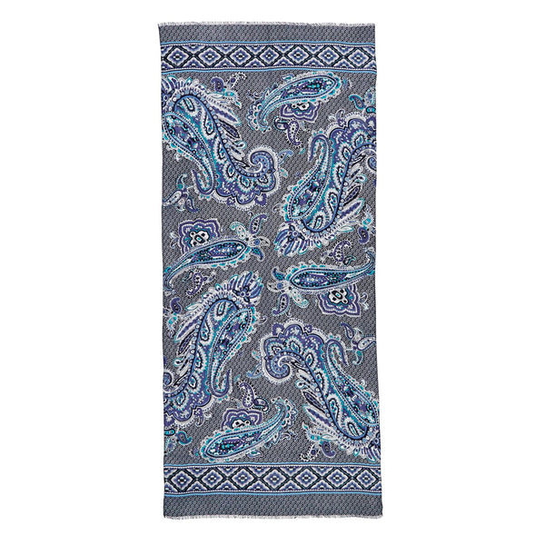 Soft Fringe Scarf in Deep Night Paisley