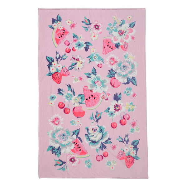 Rosy Garden Picnic Plush Throw Blanket