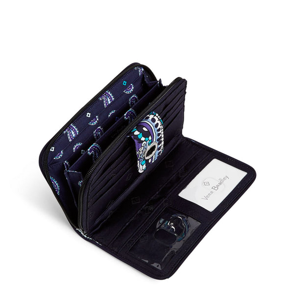 RFID Turnlock Wallet in Deep Night Paisley