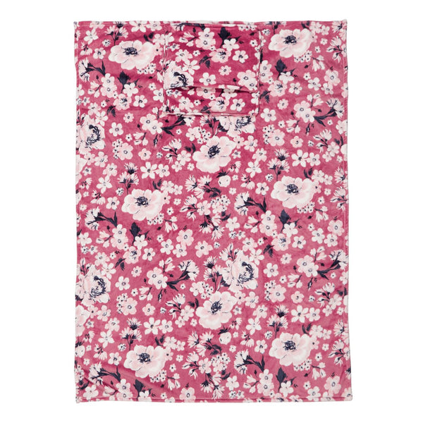 Plush Fleece Travel Blanket in Strawberry Grand Garden