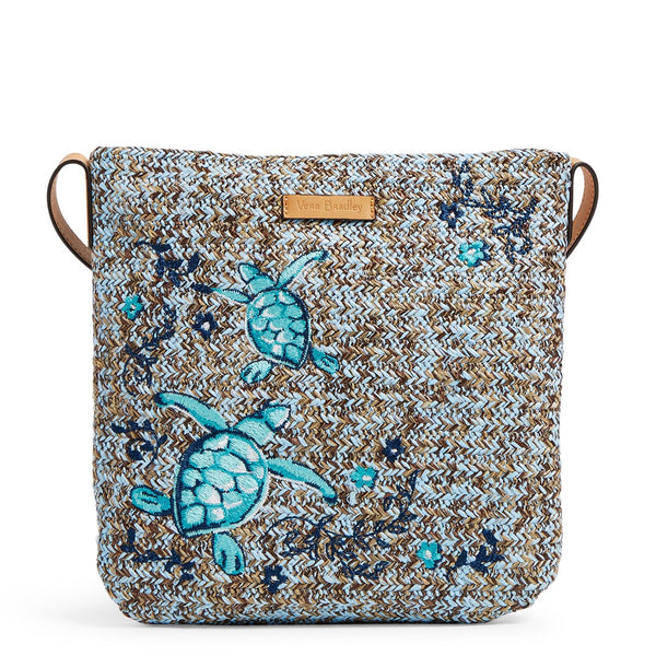 Straw Crossbody in Mint Brown Sea Life