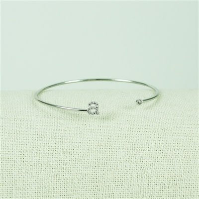 Silver Lower Case CZ Initial Open Bangle, A