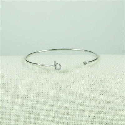Silver Lower Case CZ Initial Open Bangle, B