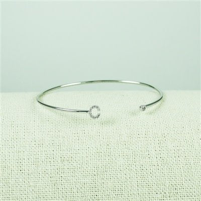 Silver Lower Case CZ Initial Open Bangle, C