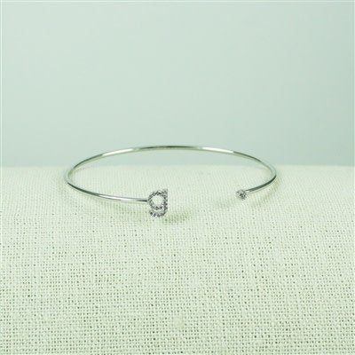 Silver Lower Case CZ Initial Open Bangle, G