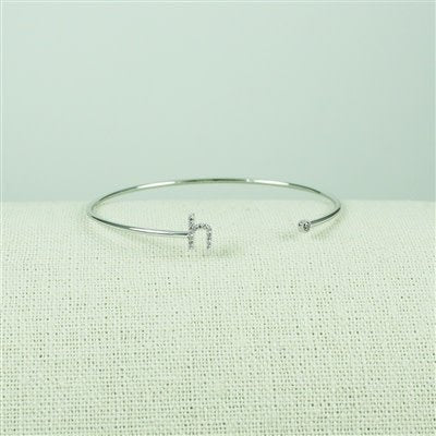 Silver Lower Case CZ Initial Open Bangle, H