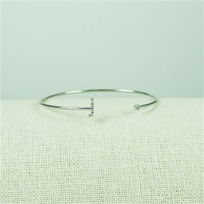 Silver Lower Case CZ Initial Open Bangle, J
