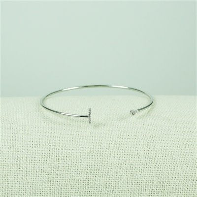 Silver Lower Case CZ Initial Open Bangle, L