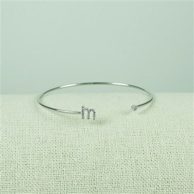 Silver Lower Case CZ Initial Open Bangle, M