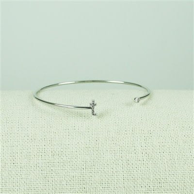 Silver Lower Case CZ Initial Open Bangle, T