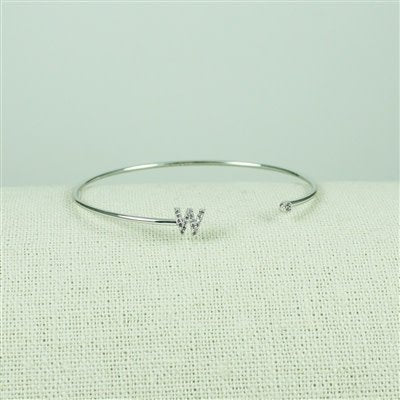 Silver Lower Case CZ Initial Open Bangle, W