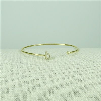 Gold Lower Case CZ Initial Open Bangle, B