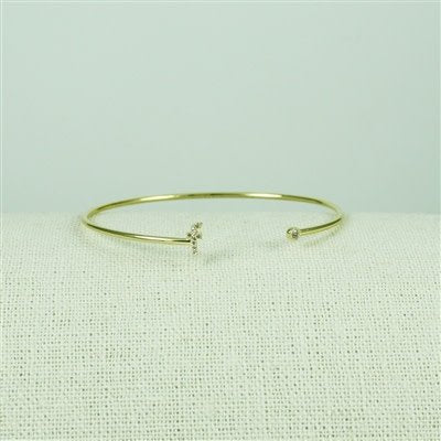 Gold Lower Case CZ Initial Open Bangle, F