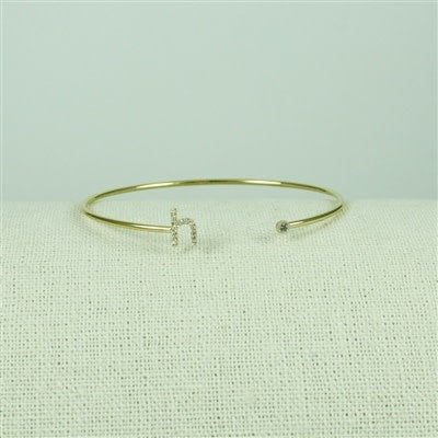 Gold Lower Case CZ Initial Open Bangle, H