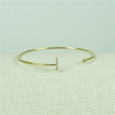 Gold Lower Case CZ Initial Open Bangle, J