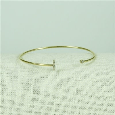 Gold Lower Case CZ Initial Open Bangle, L