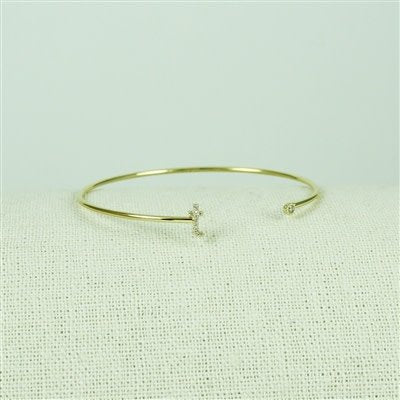 Gold Lower Case CZ Initial Open Bangle, T