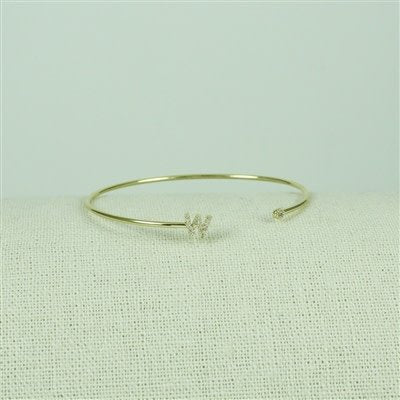 Gold Lower Case CZ Initial Open Bangle, W