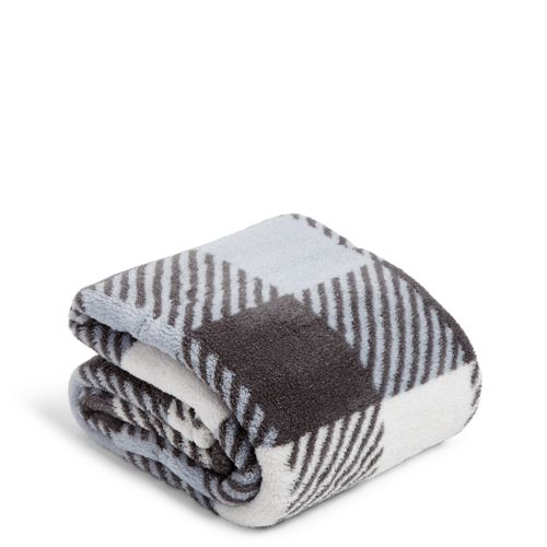 Plush Shimmer Throw Blanket Neutral Buffalo Check