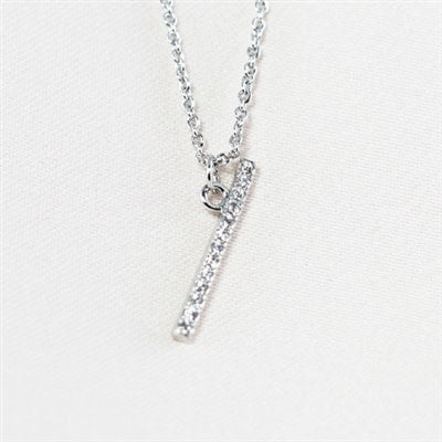 Silver Sideways CZ Initial Necklace - I